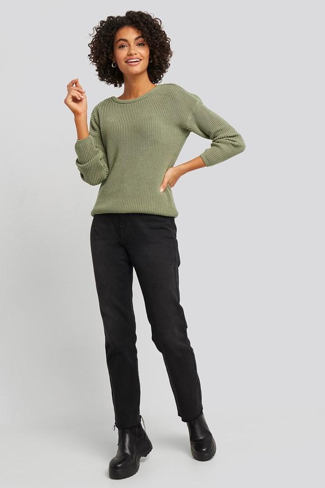 Knitted Deep V-neck Sweater Light Khaki