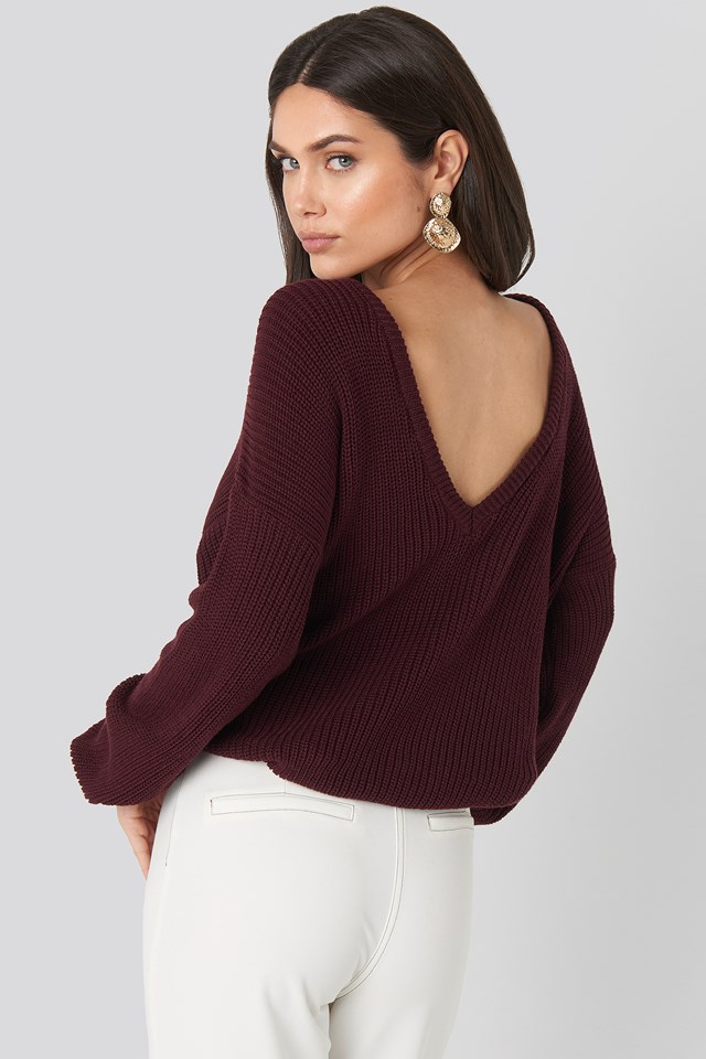 Knitted Deep V-neck Sweater Burgundy