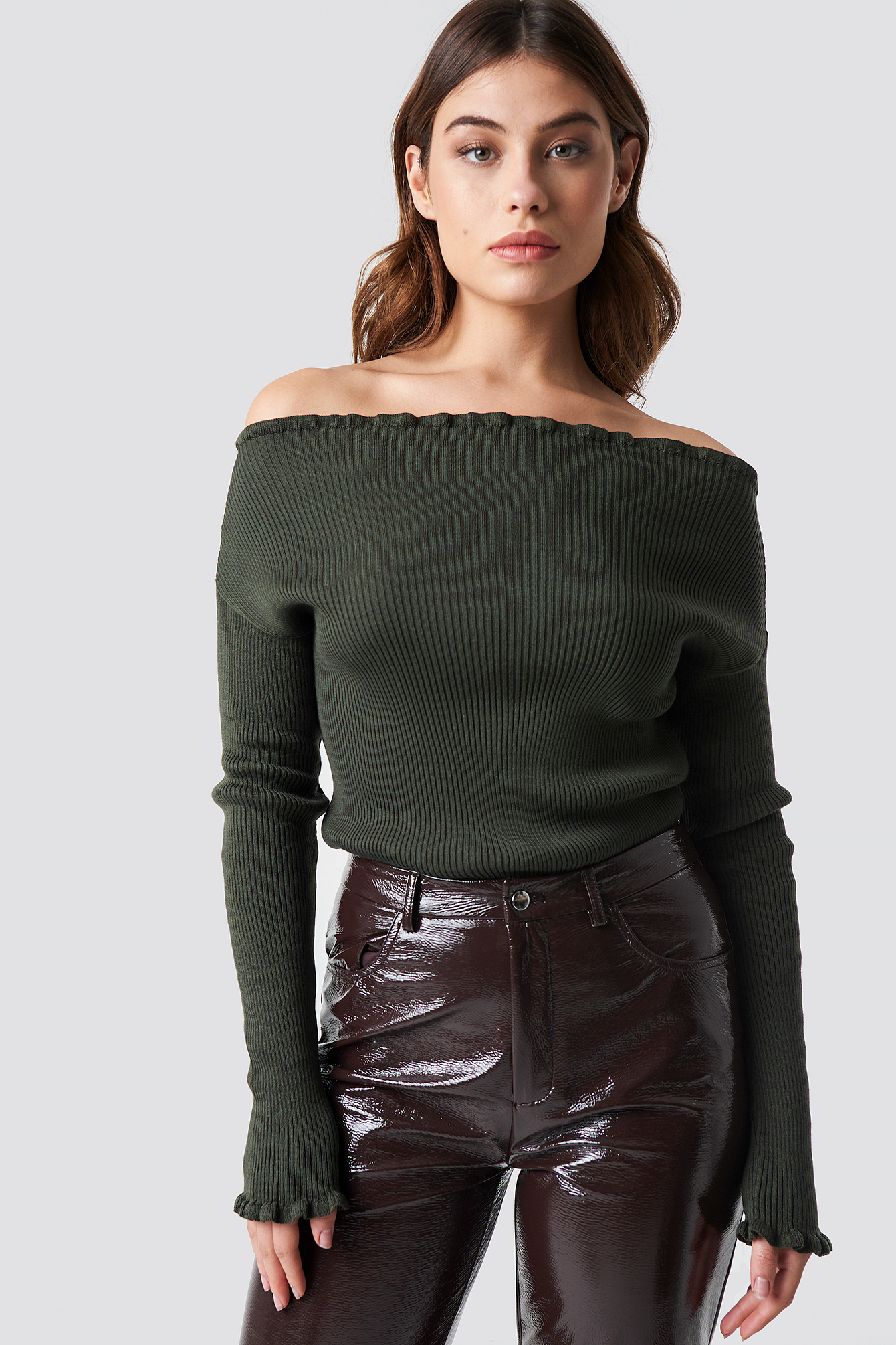 na-kd trend -  Knitted Frill Off Shoulder Sweater - Green