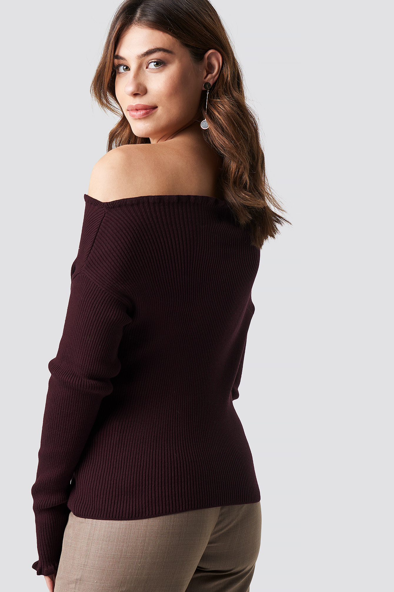 Burgundy Knitted Frill Off Shoulder Sweater