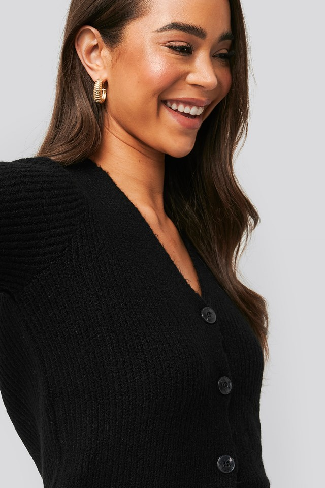 Knitted Hairy Cardigan Black