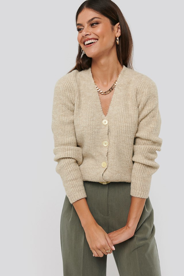 Knitted Hairy Cardigan Beige