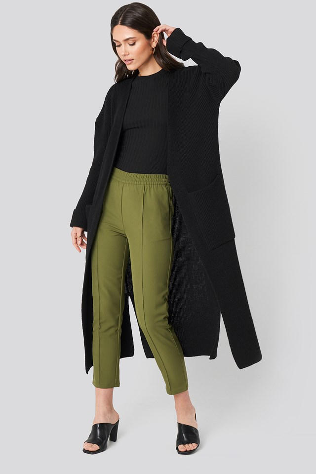 Knitted Long Cardigan Black
