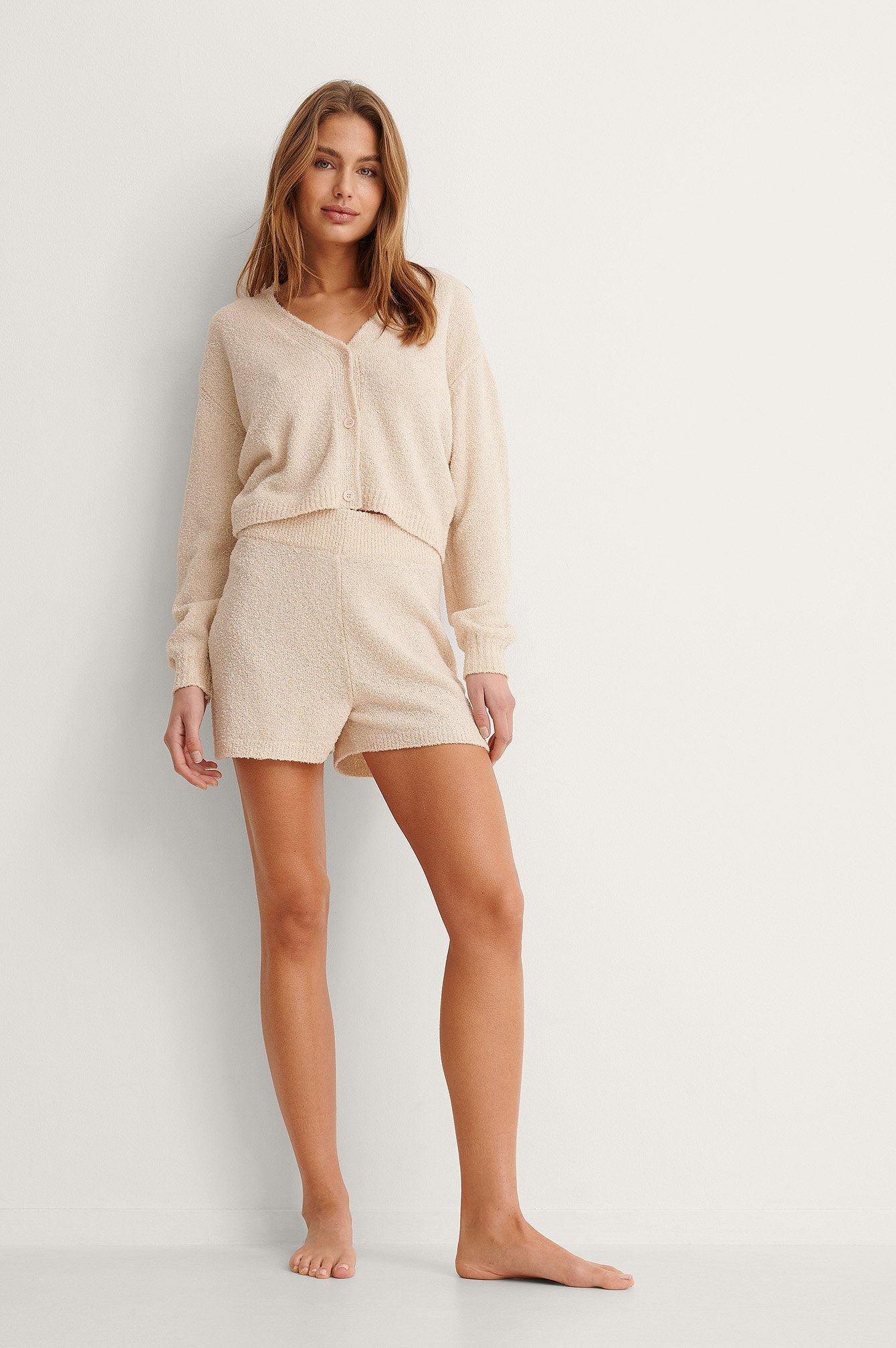 Light Beige Weite Strickshorts