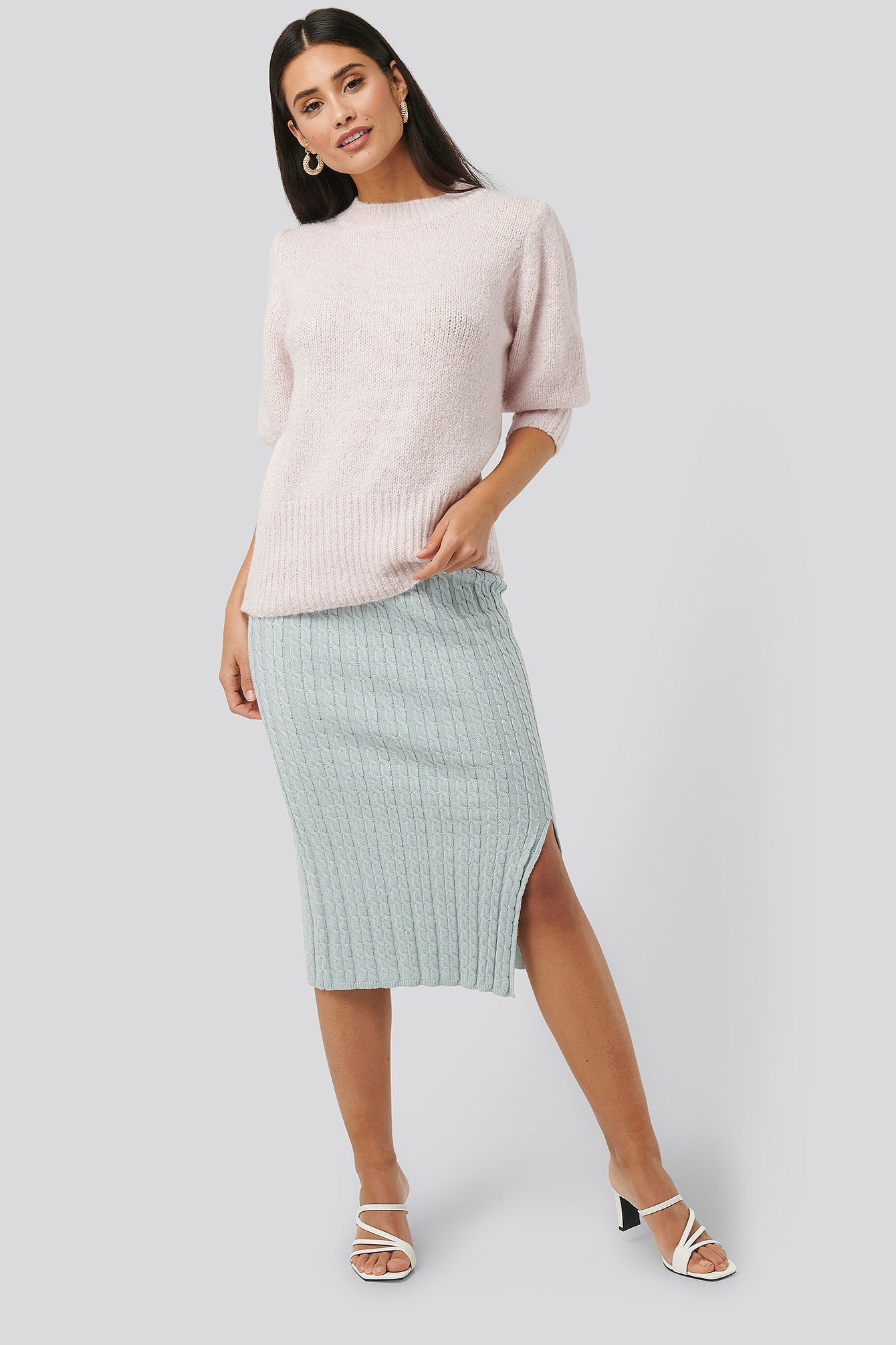 Light Blue Knitted Pencil Skirt