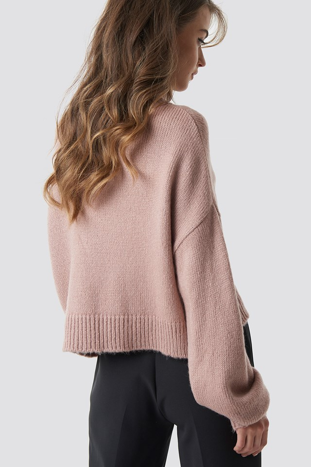 Knitted Polo Sweater Dusty Pink