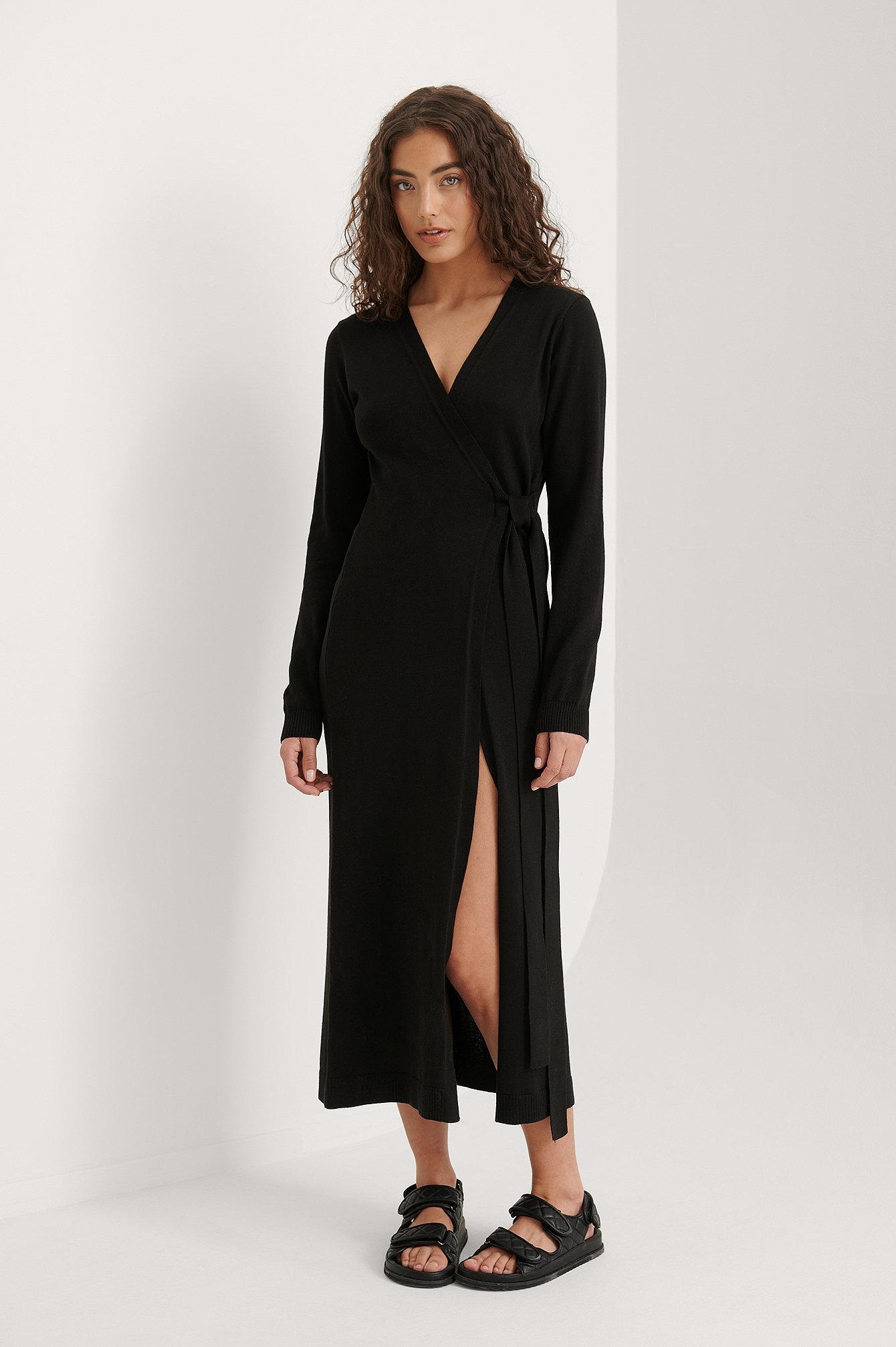 Black Knitted Robe Dress
