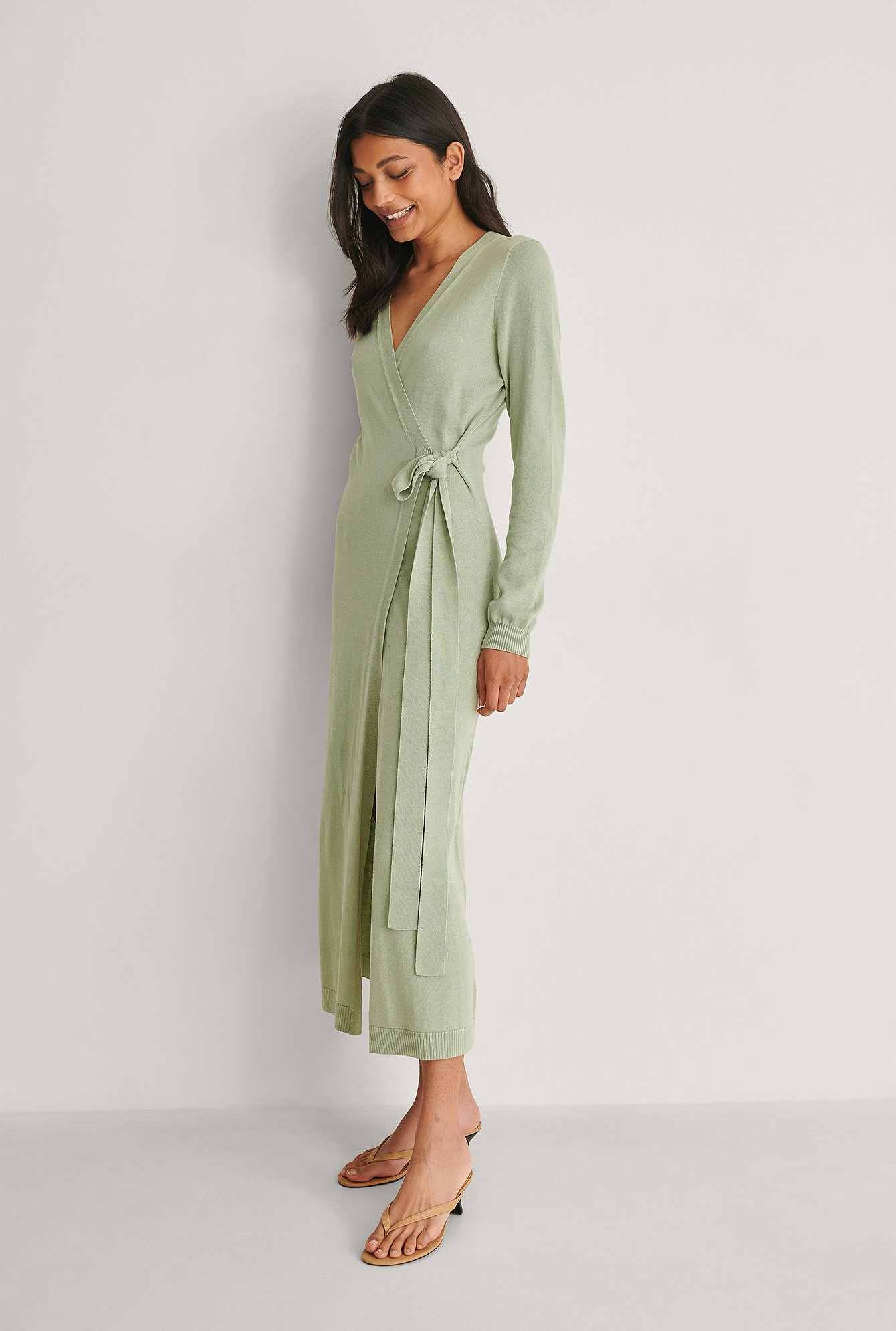 Green Knitted Robe Dress