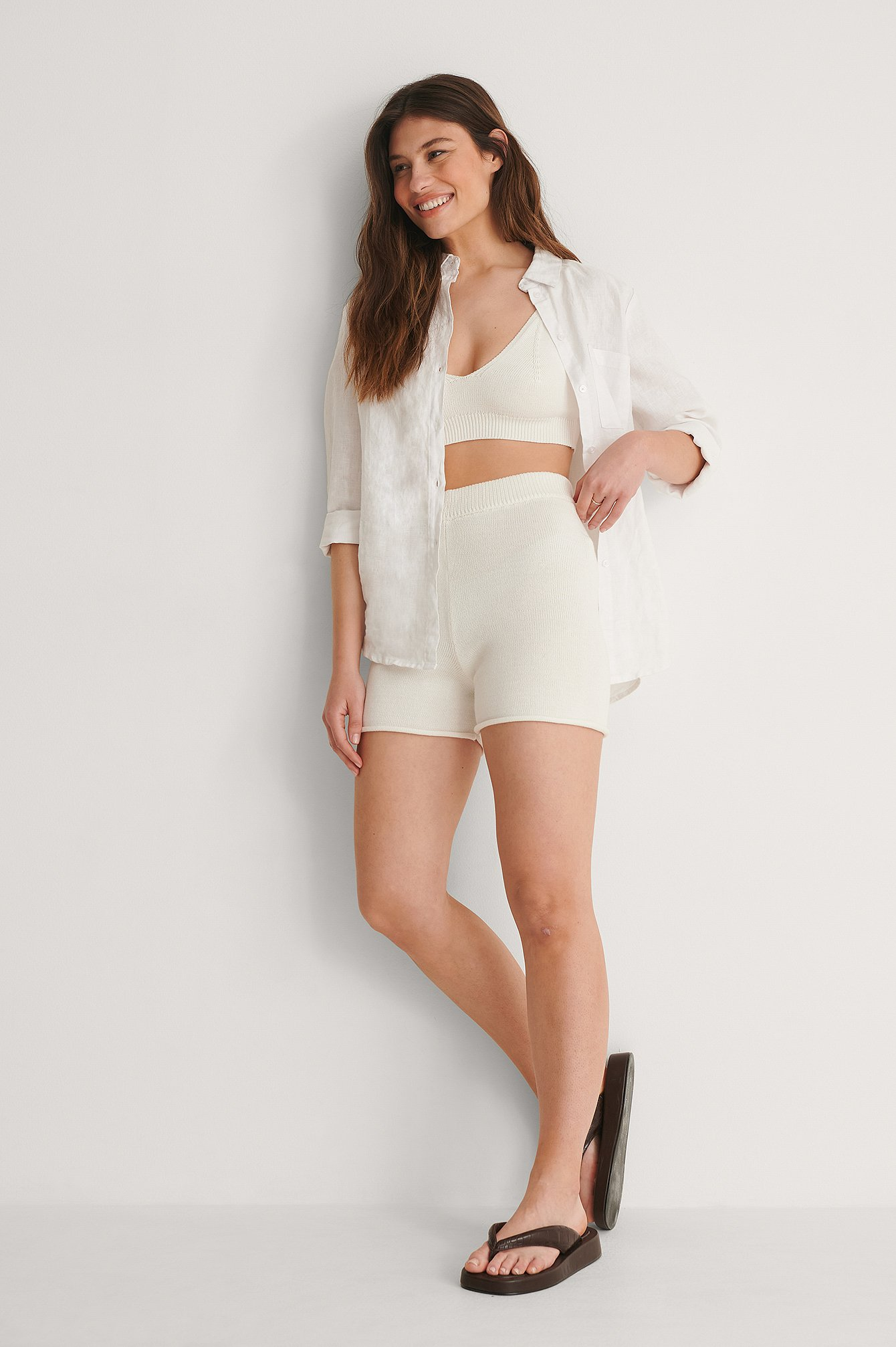 White Organic Knitted Roll Up Hem Shorts