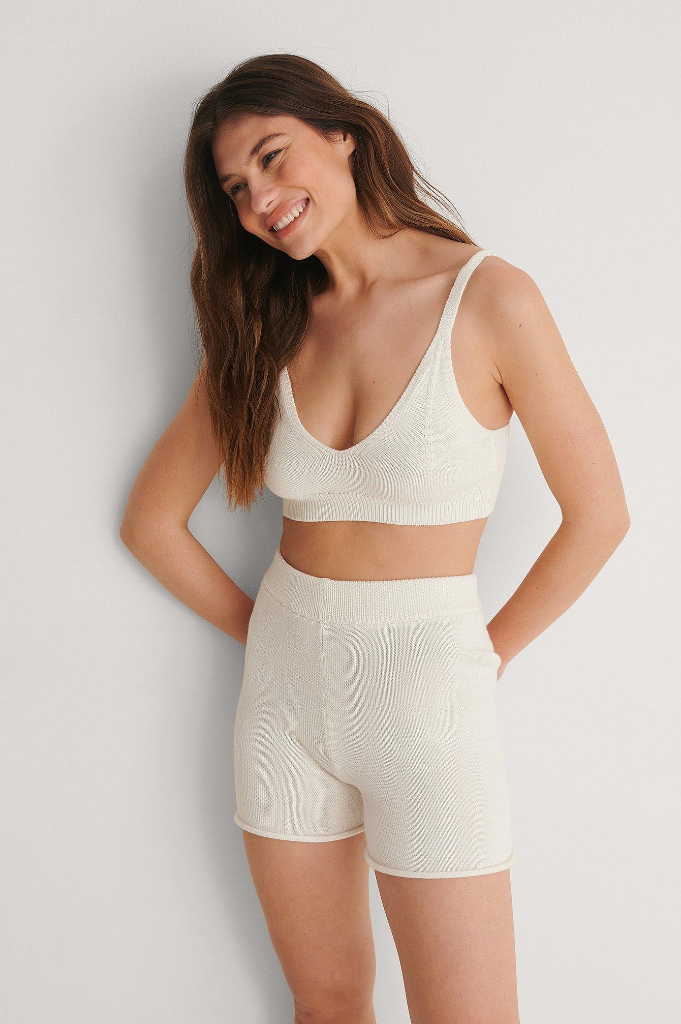 Na-kd Organic Knitted Bralette - White