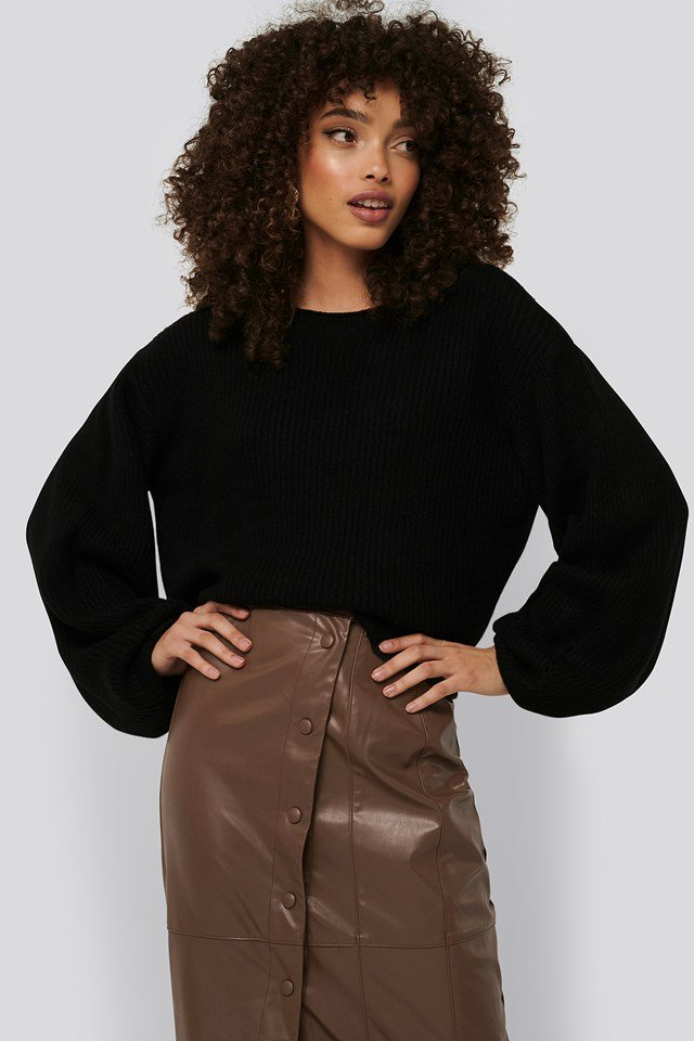 Knitted Short Puff Sleeve Sweater Black