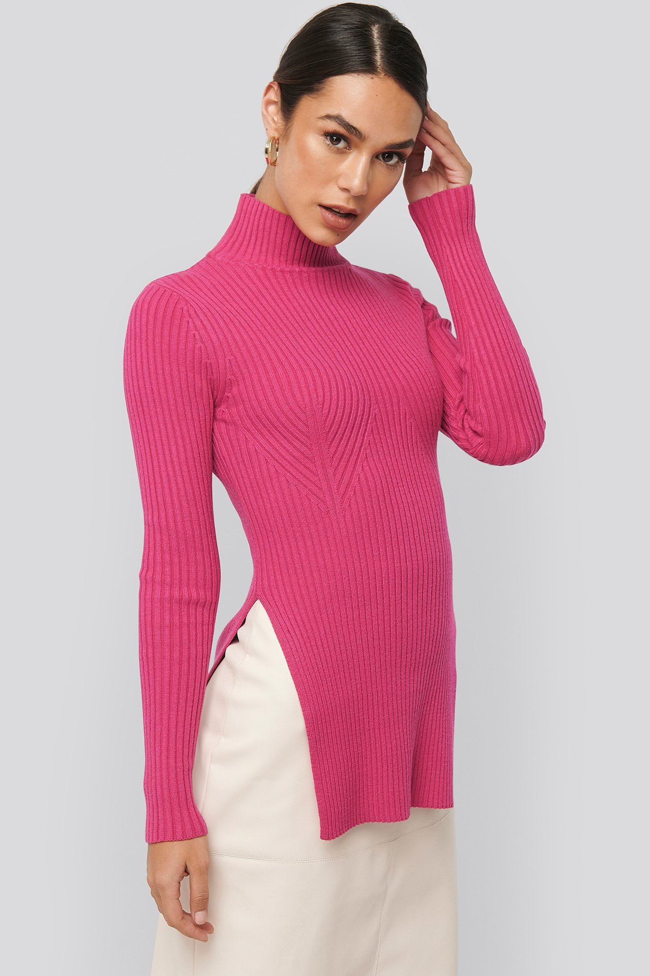 NA-KD Knitted Side Slit Sweater - Pink