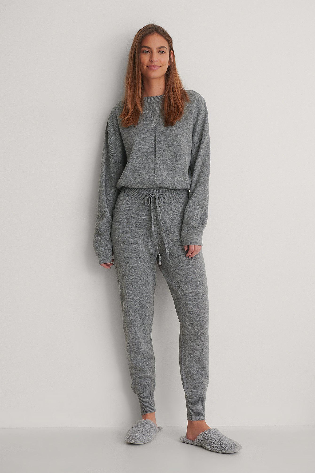 Grey Melange Knitted Trousers