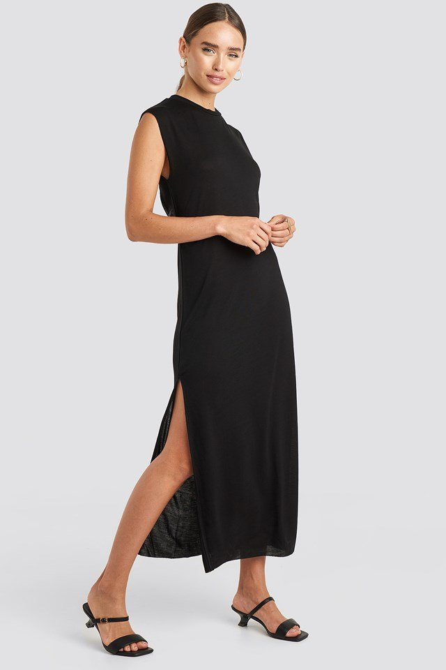 Knot Back Jersey Midi Dress Deep Black