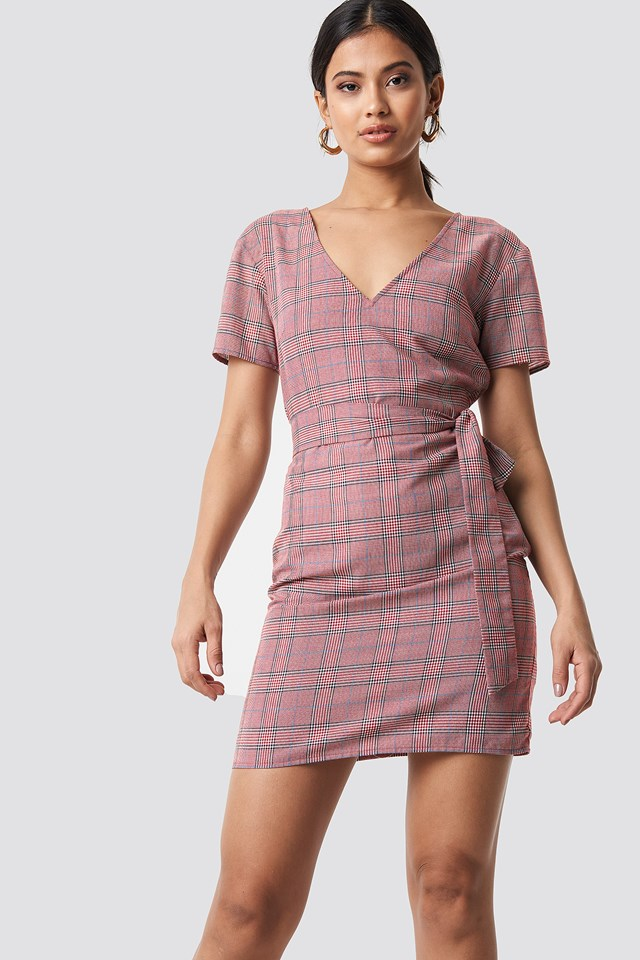 Knot Detail Checkered Dress Red Check