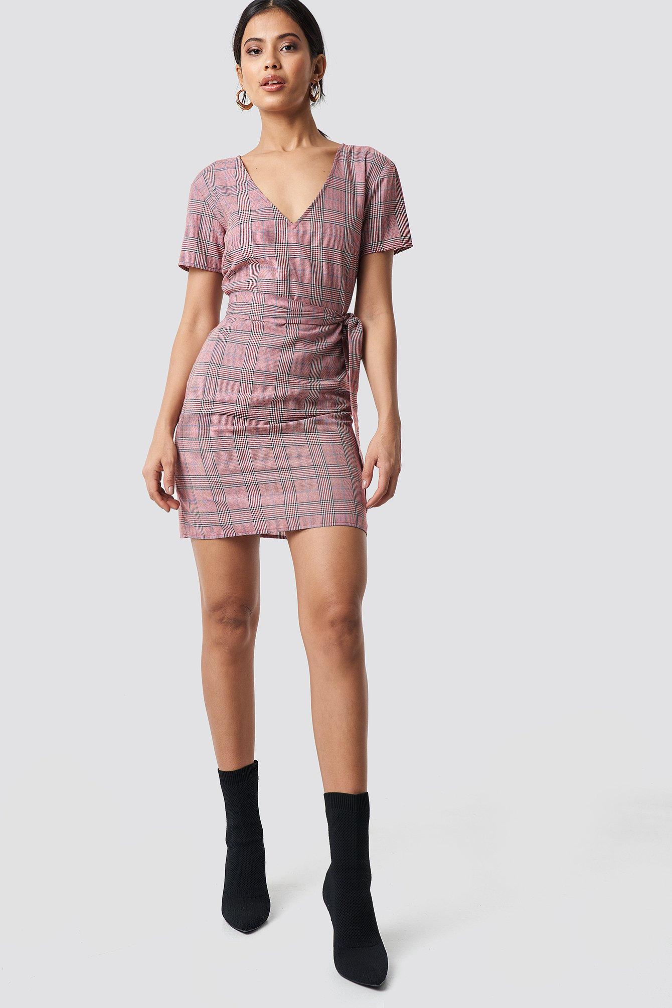 Knot Detail Checkered Dress NA-KD.COM