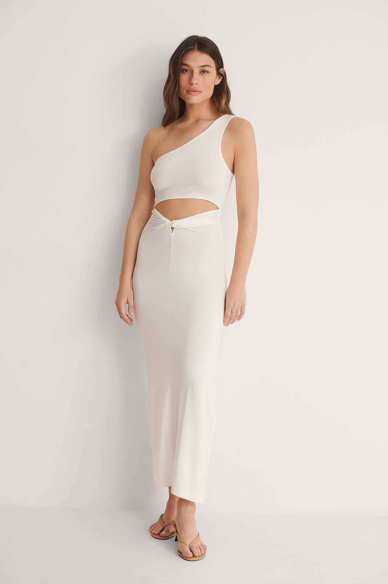 na-kd trend -  Mini-Jersey-Kleid Mit Knotendetail - White