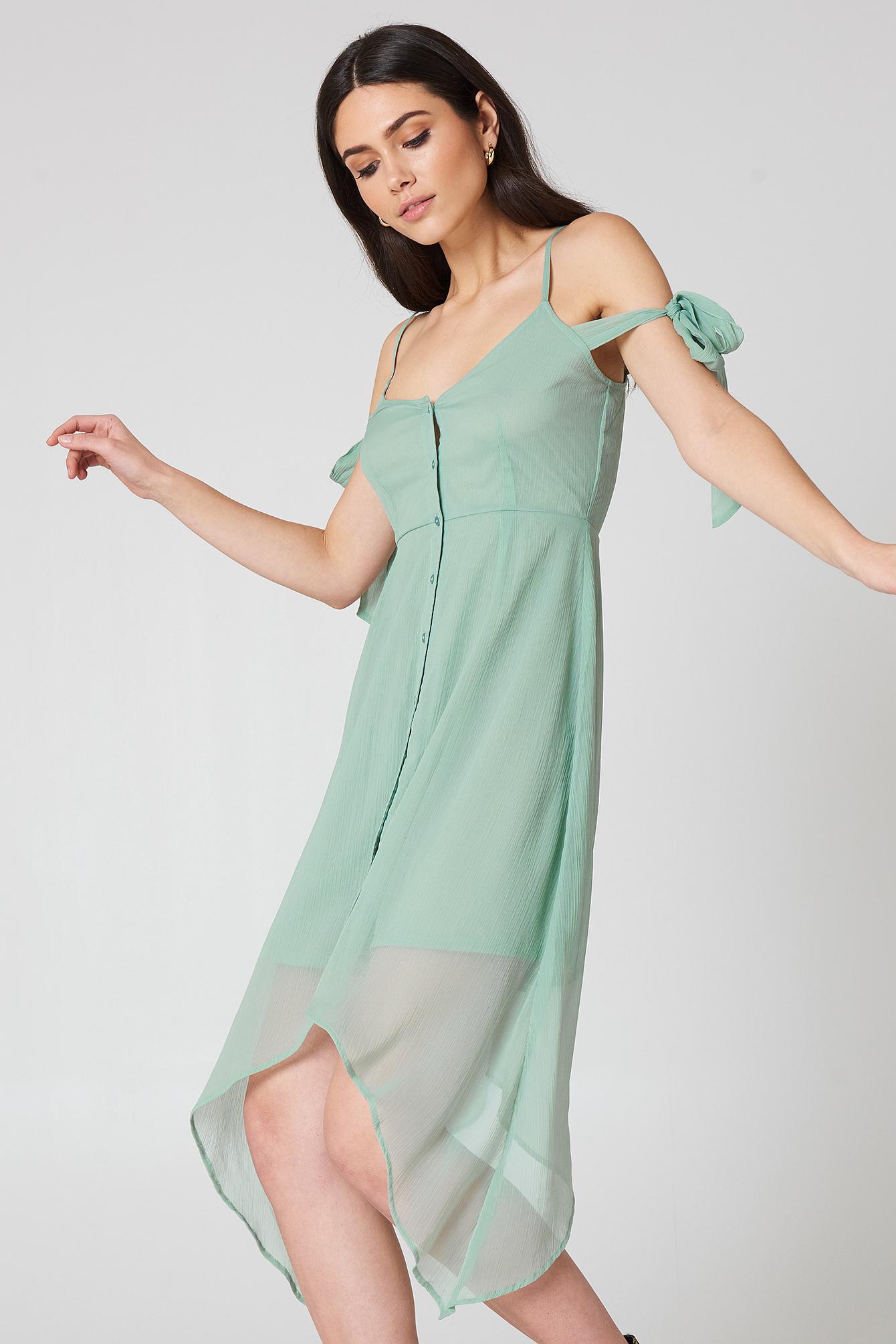na-kd boho -  Knot Detail Midi Dress - Green