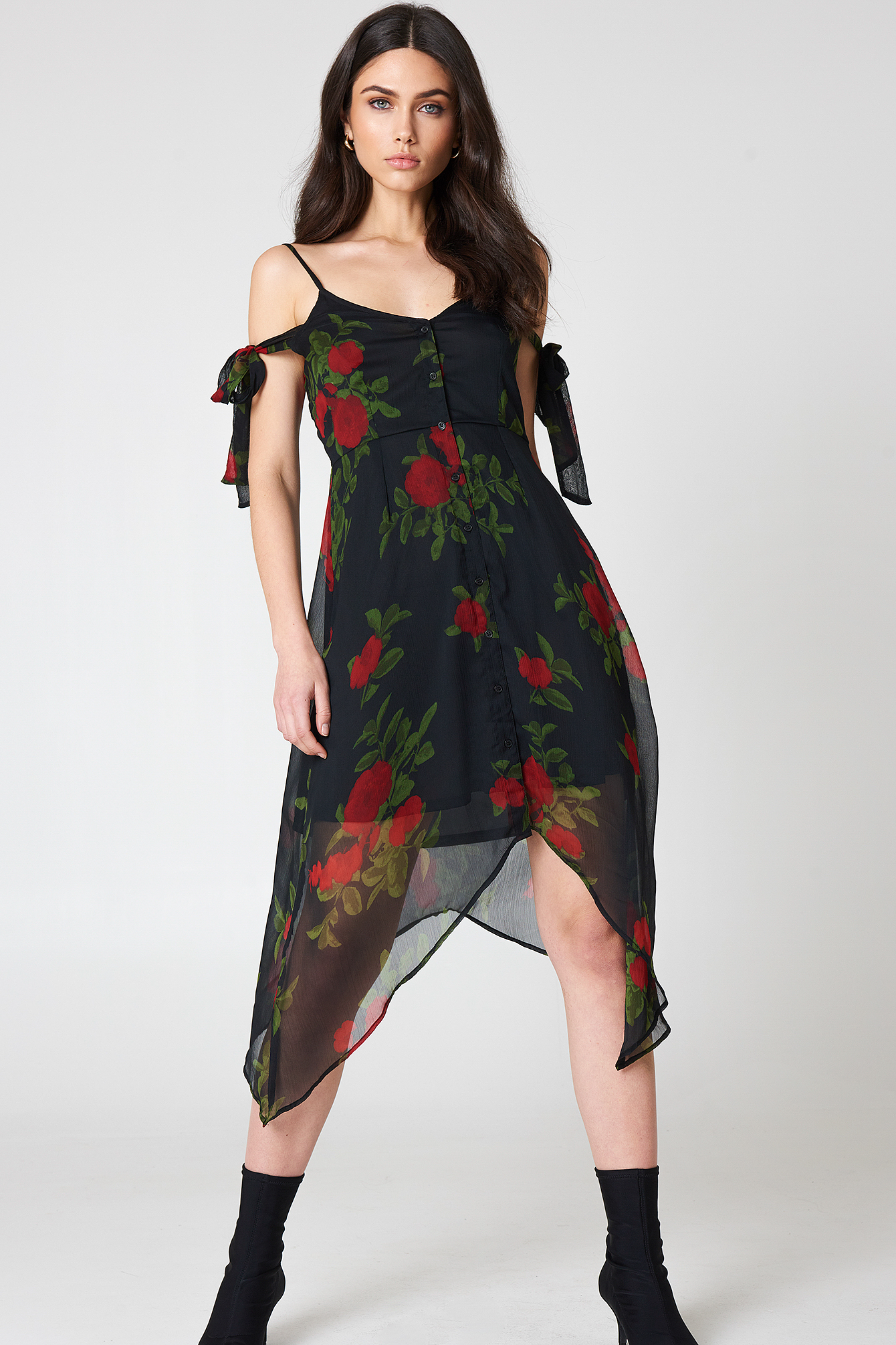 Knot Detail Midi Dress NA-KD.COM