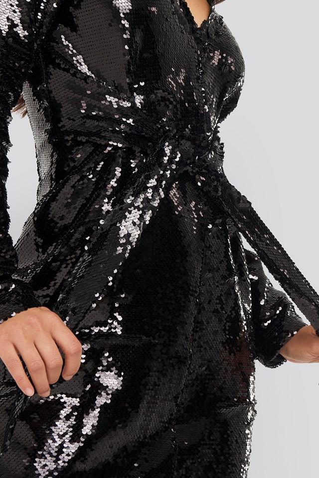 Knot Detail Sequin Dress Black
