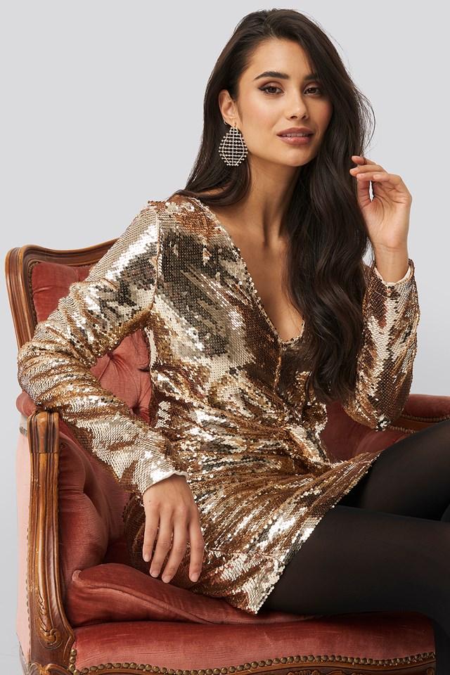 Knot Detail Sequin Dress Gold