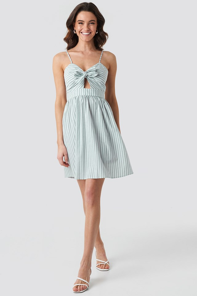 Knot Front Cut Out Dress White/Green Stripe