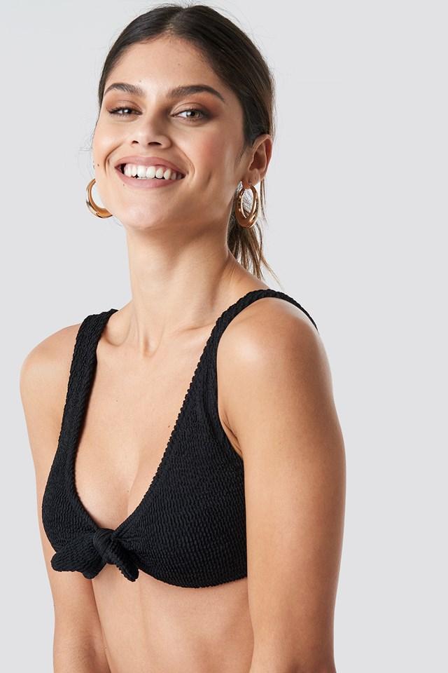 Smocked Knot Tie Bikini Top Black