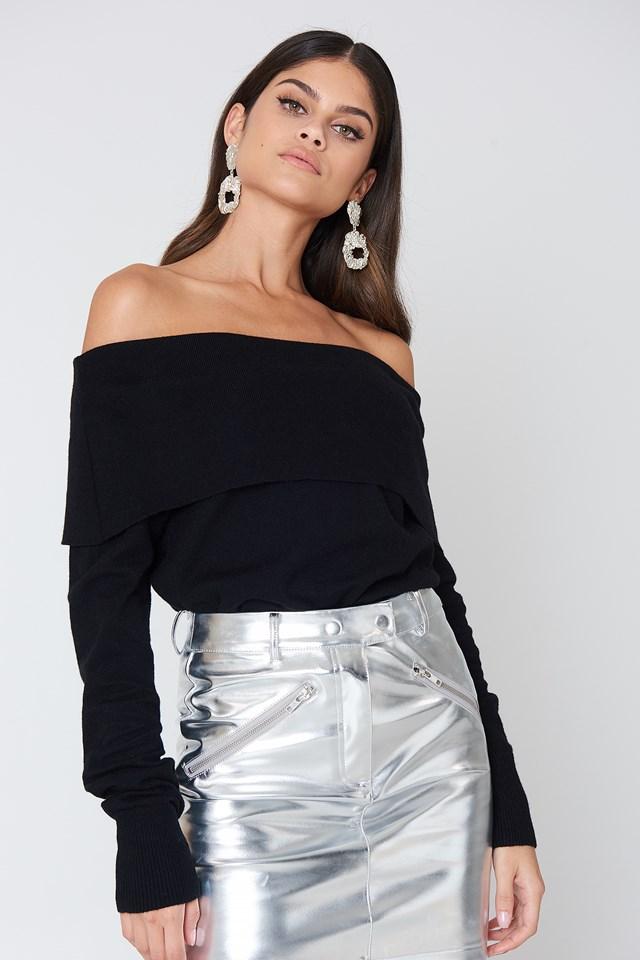 Folded Knit Sweater Black