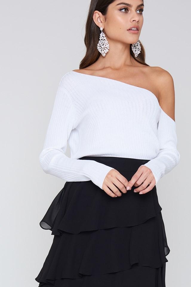 Ribbed Off Shoulder Sweater NA-KD.COM