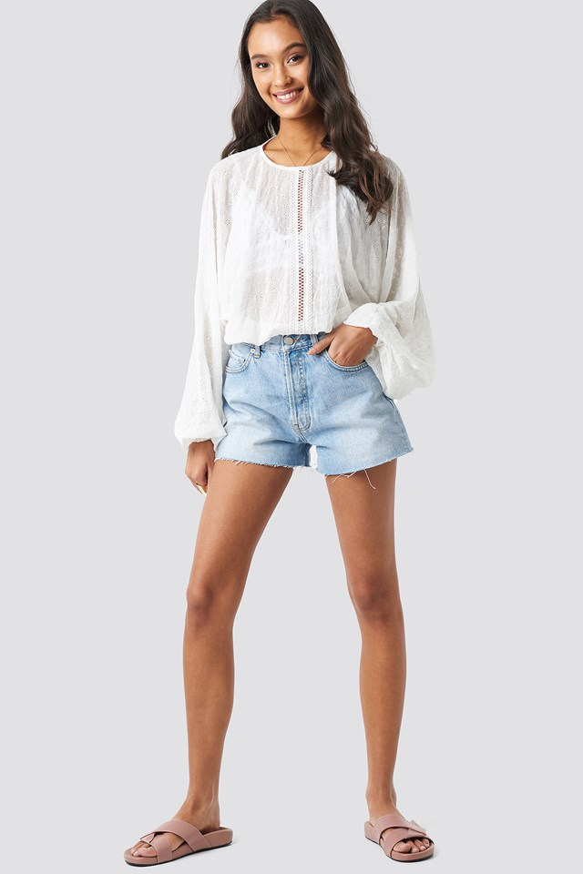 Lace-Up Back Blouse White