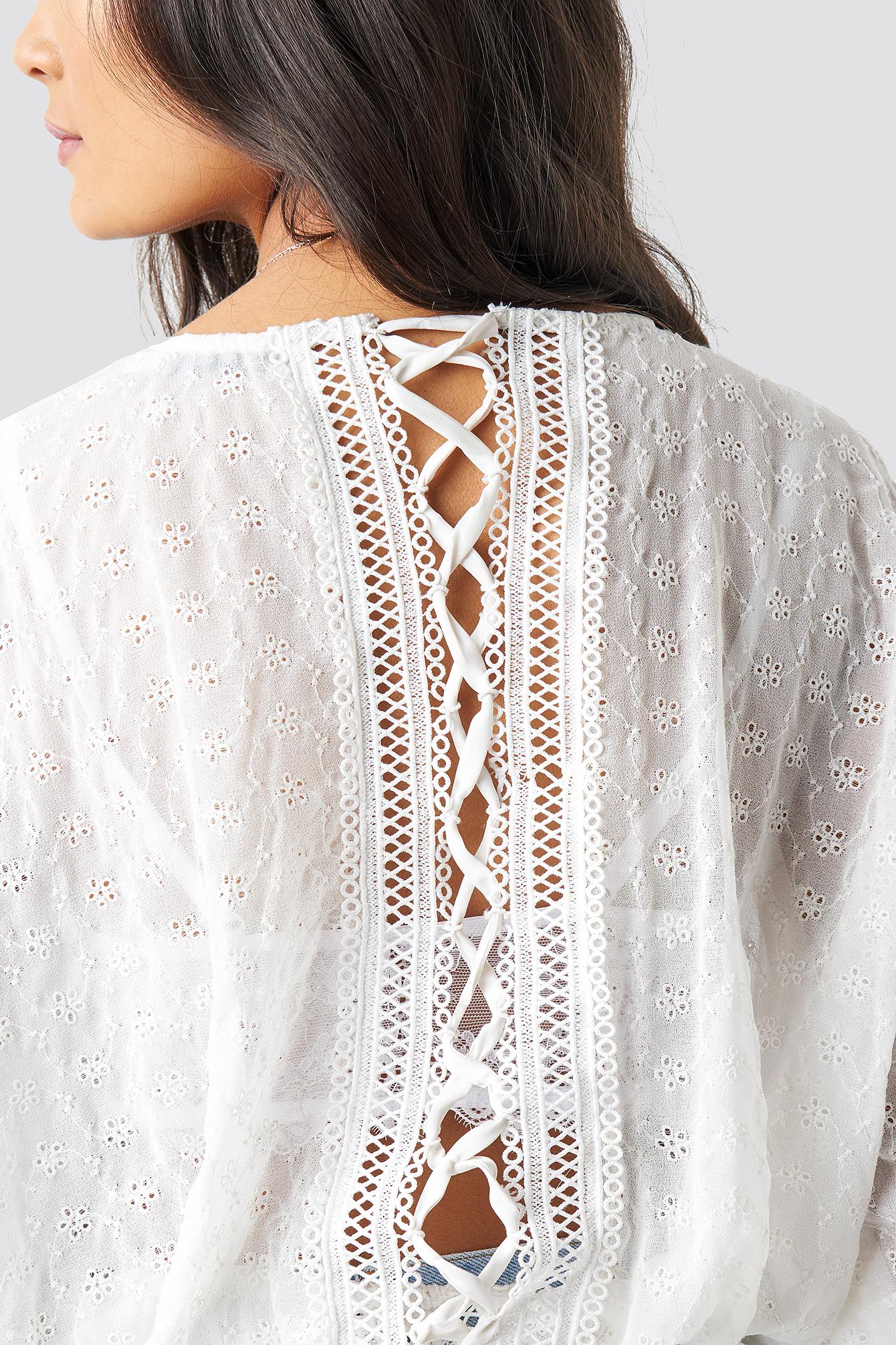 Lace-Up Back Blouse NA-KD.COM