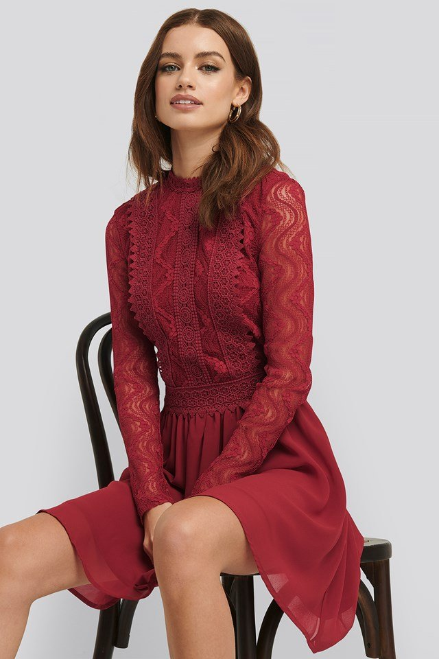 Lace Anglaise LS Mini Dress Dark Red