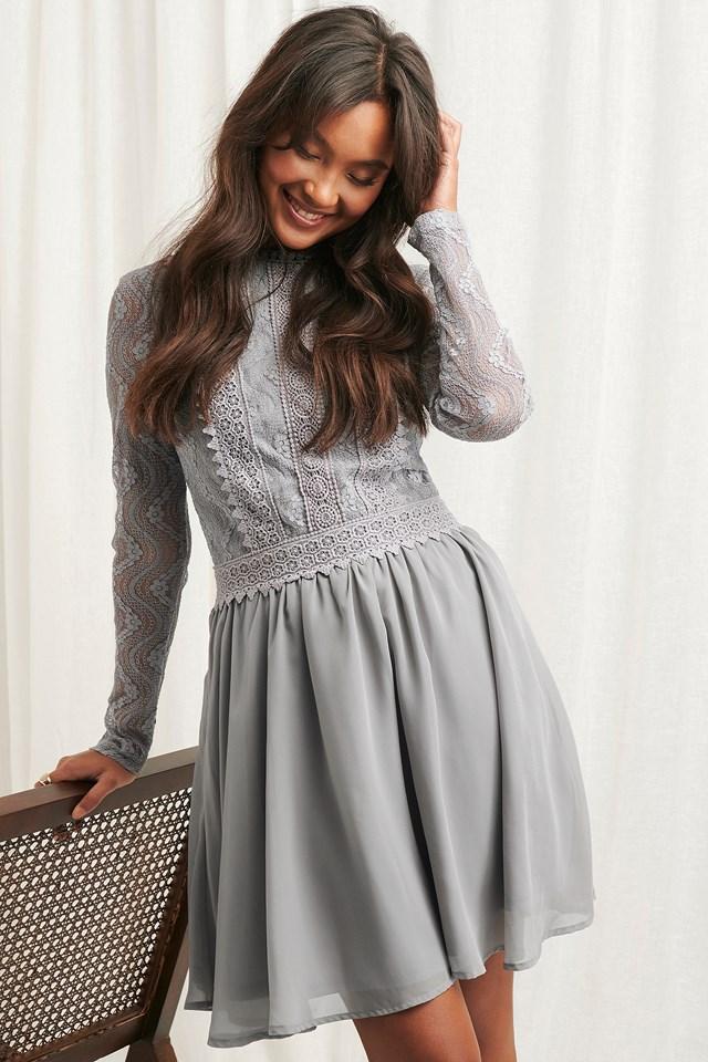 Lace Anglaise LS Mini Dress Dusty Blue Grey