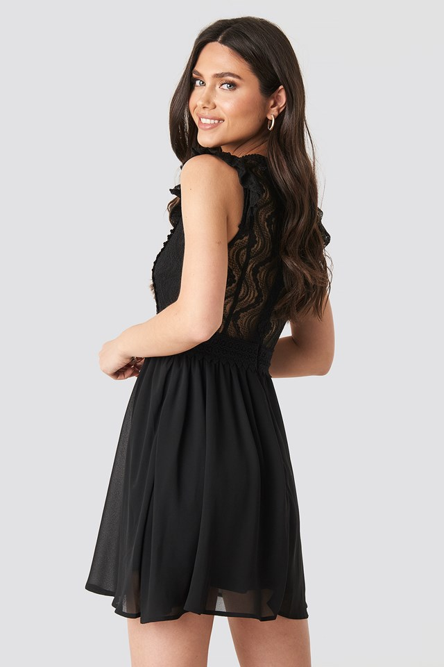 Lace Anglaise Mini Dress Black