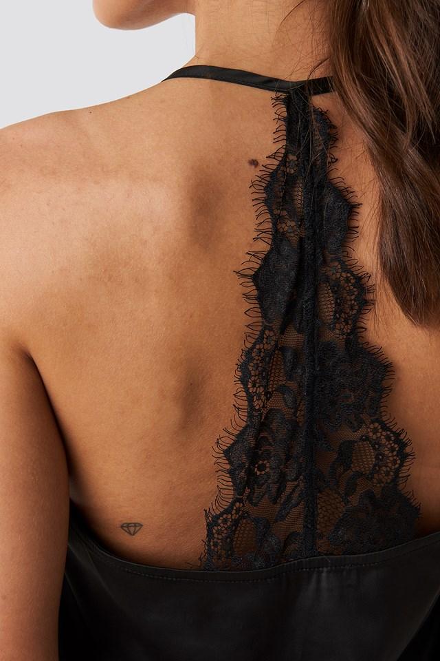 Lace Back Detail Singlet Black