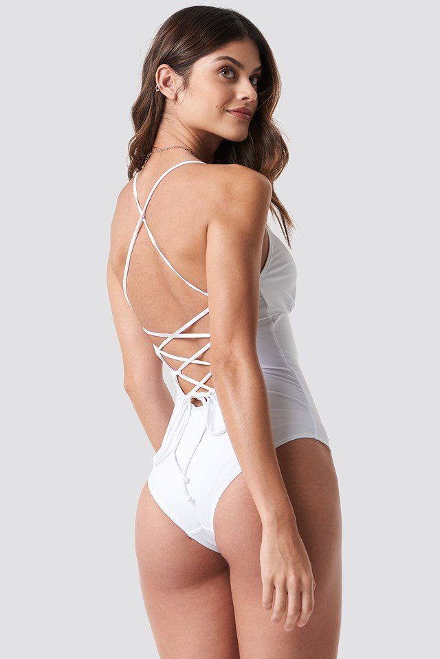 Lacing Back Swimsuit White