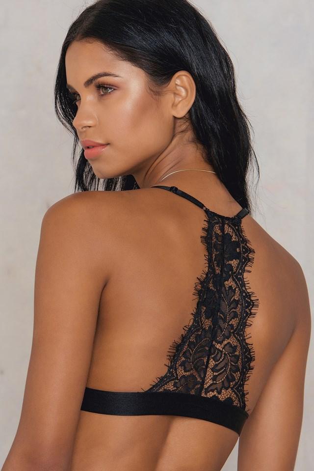 Lace Back Triangle Bra Black