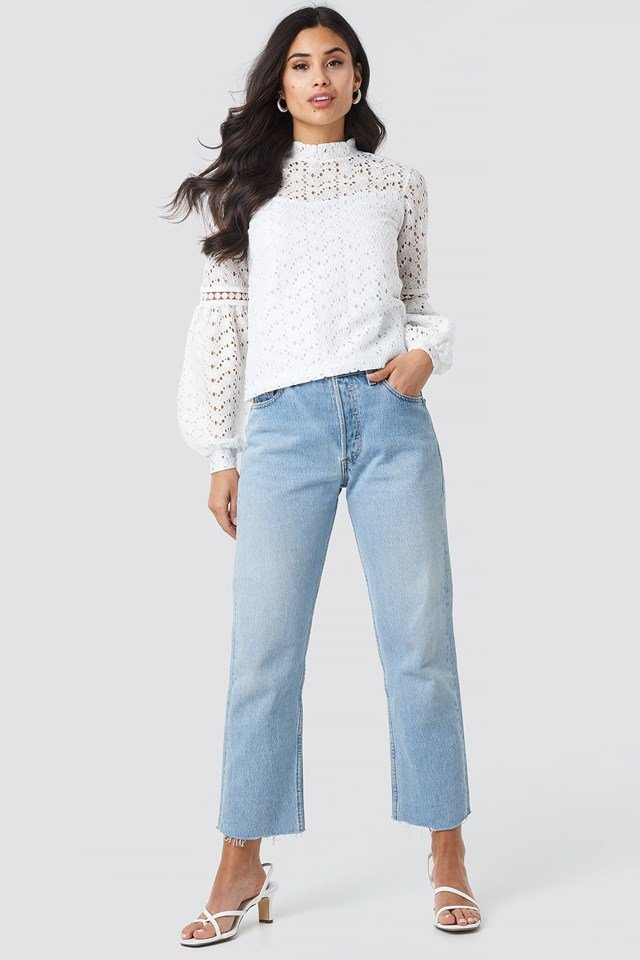 Lace Balloon Sleeve Knitted Blouse Ecru