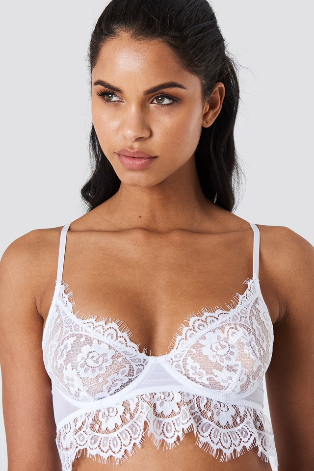 Lace Cup Bra White
