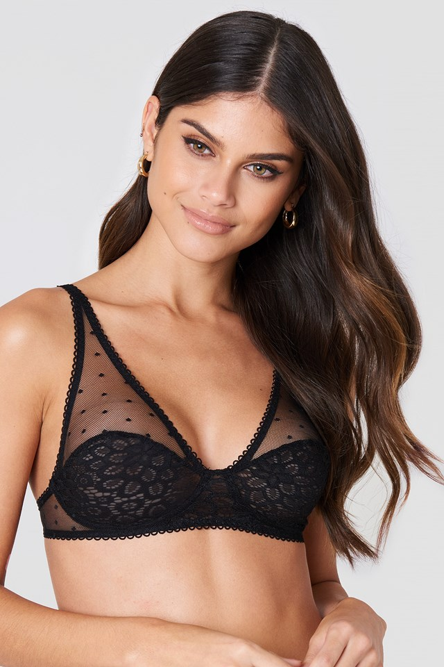 Lace Cup Dotted Bra Black