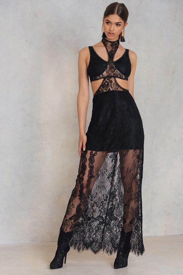 Lace Cut Out Dress Black