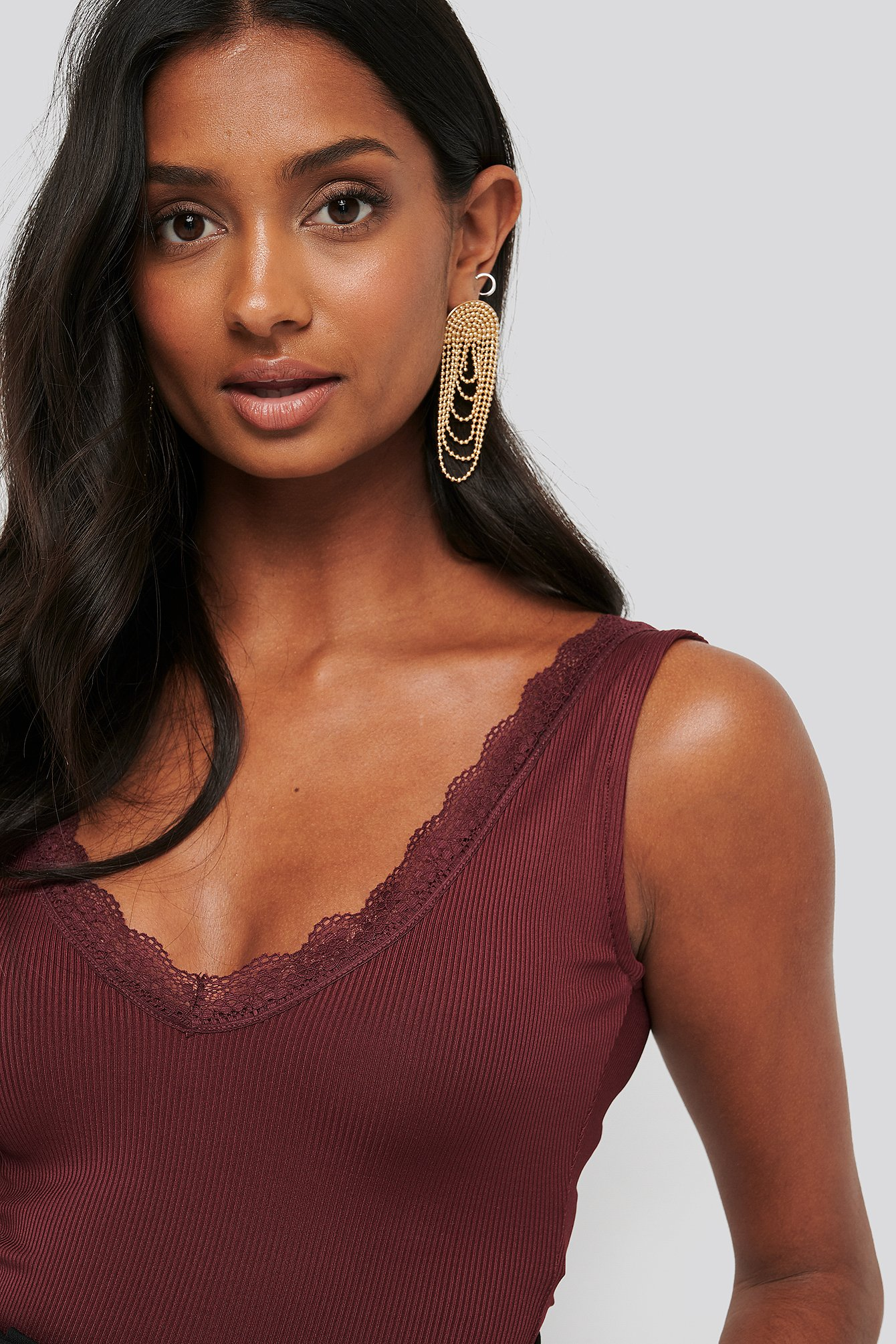 Burgundy Lace Detail Crop Singlet