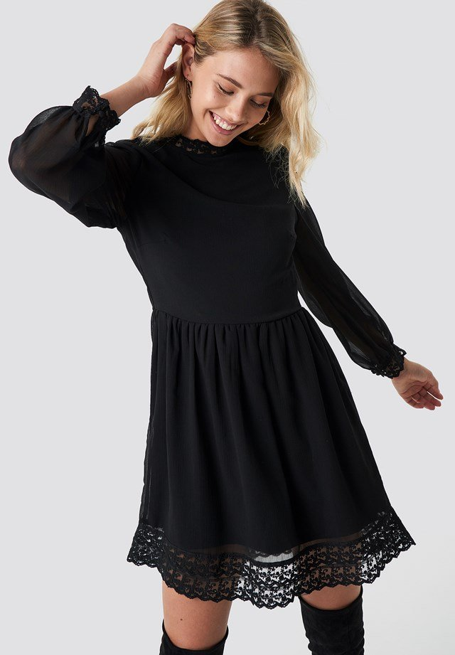 Lace Detail High Neck Dress Black