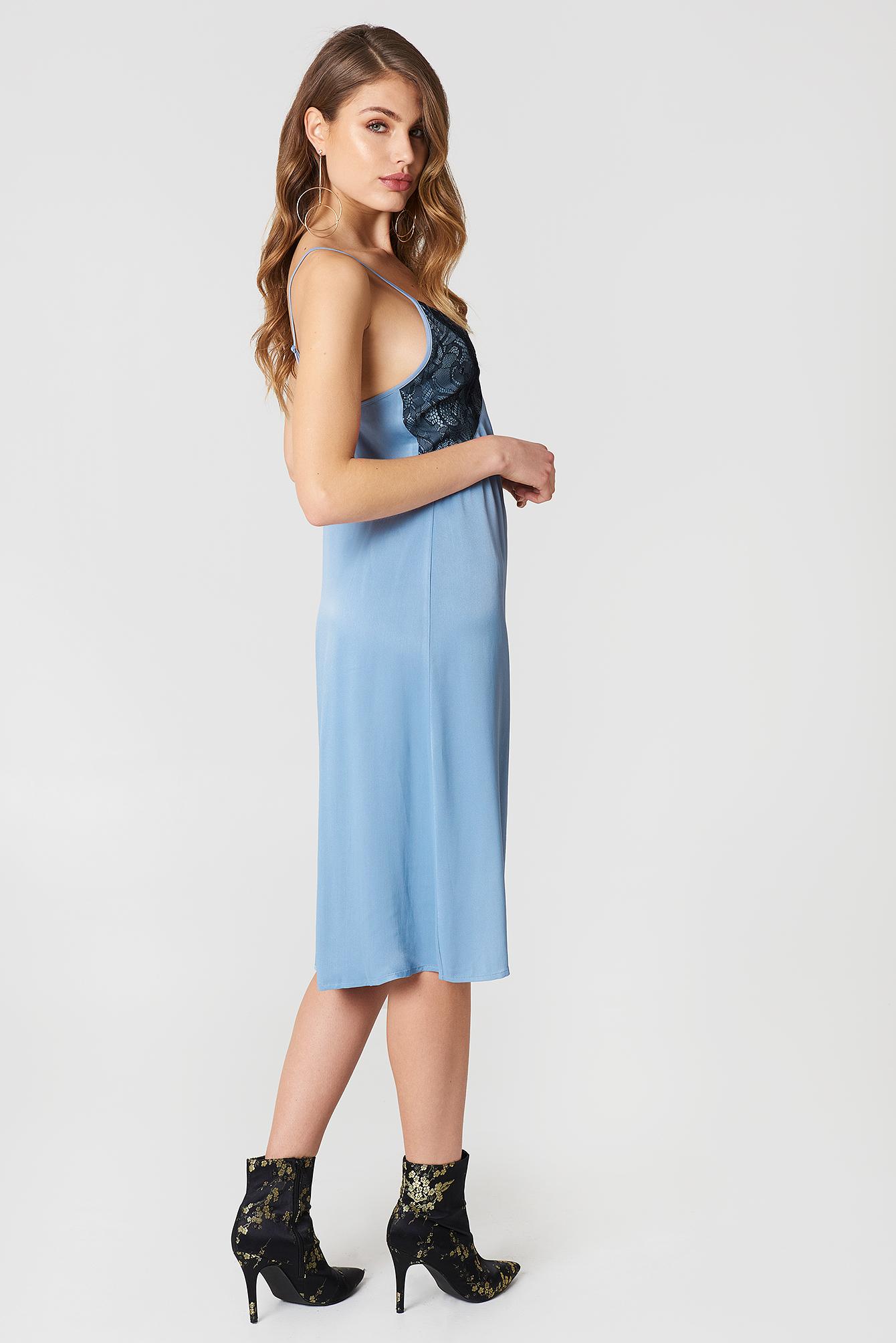 Lace Detail Midi Slip Dress NA-KD.COM