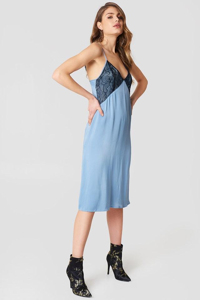 Lace Detail Midi Slip Dress Blue