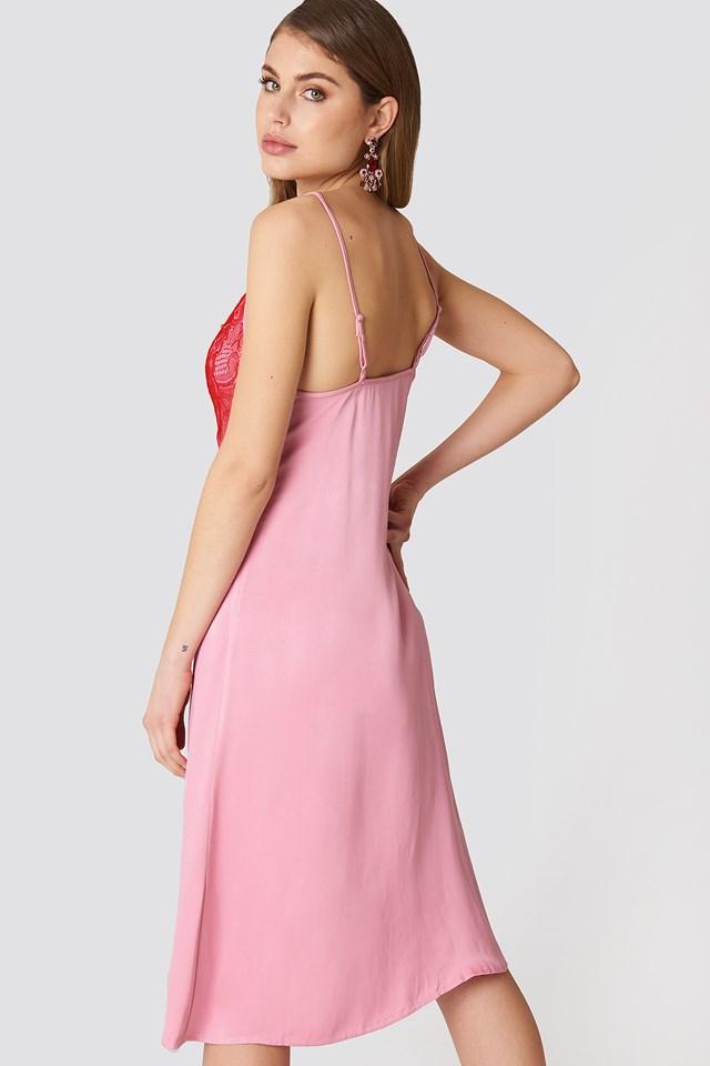 Lace Detail Midi Slip Dress Red/Pink