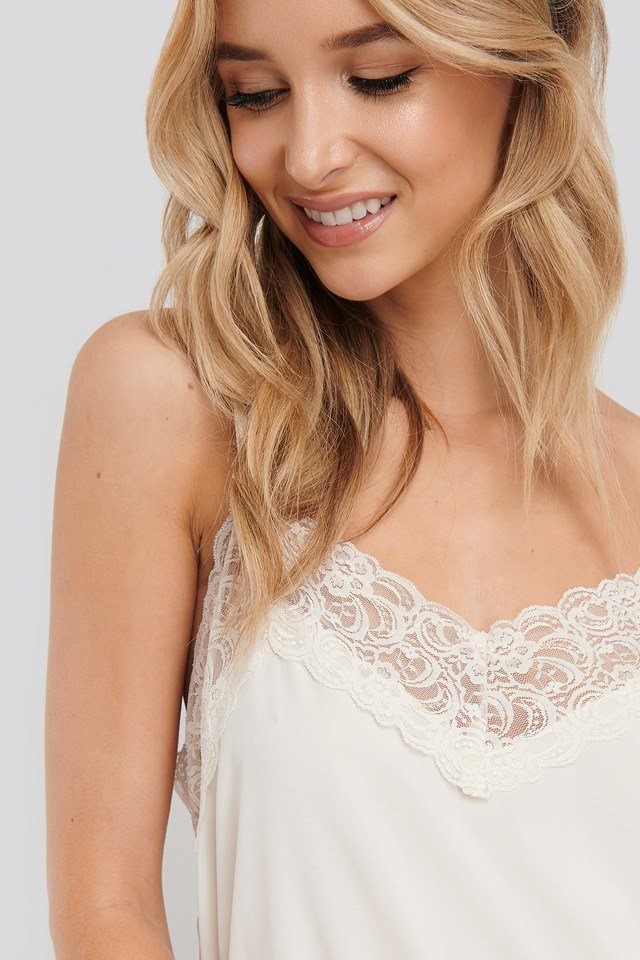 Lace Detail Night Dress Coconut White