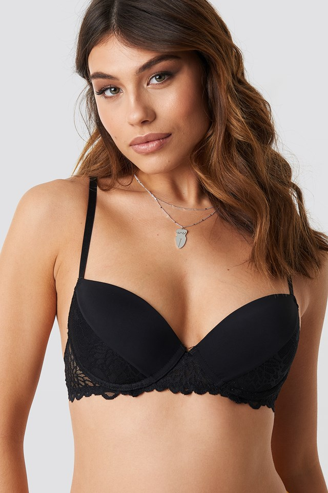 Lace Detail Padded Cup Bra Black