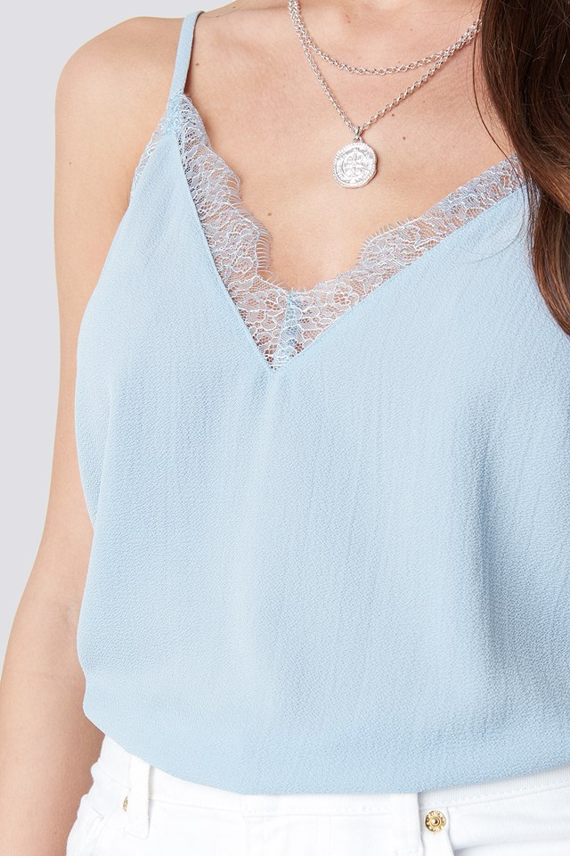 Lace Detail Singlet Light Blue