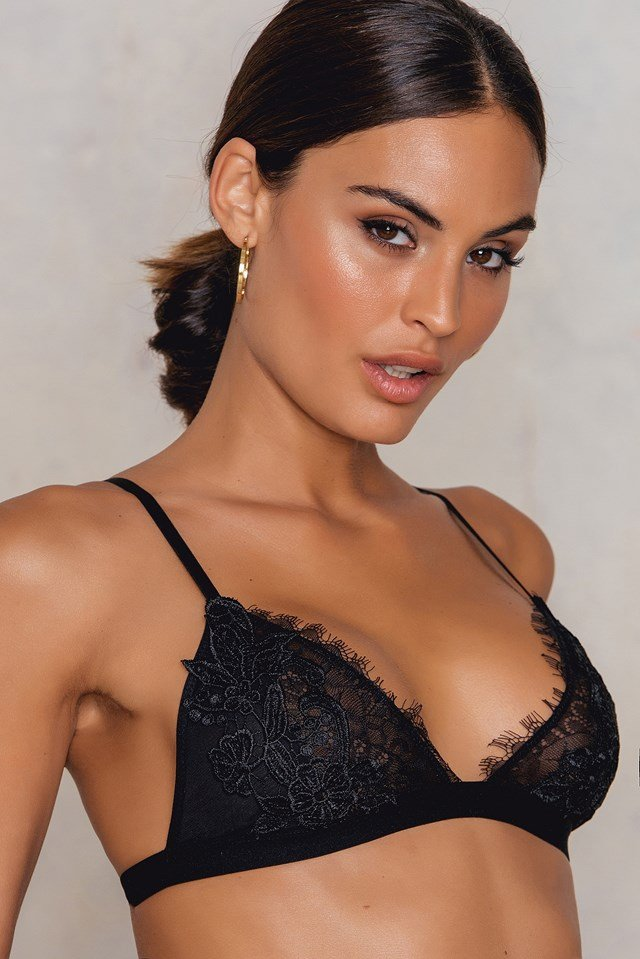 Lace Detail Triange Bra Black
